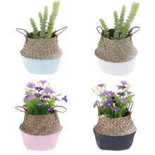 Handmade Storage Baskets Foldable Laundry Straw Patchwork Wicker Rattan Seagrass Belly Garden Flower Pot Planter Bamboo Basket(China)
