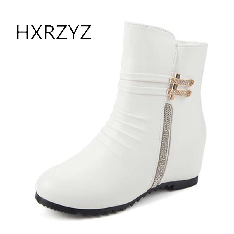 HXRZYZ autumn ankle boots women increased wedges new round toe thick heel female anti skid Side zipper shoes black winter boots hxrzyz autumn ankle boots women increased wedges new round toe thick heel female anti skid side zipper shoes black winter boots