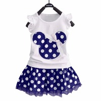 Puseky Vestido Princesa 2 PCS Set Baby Girl Dresses Mickey Red Blue Dot Girls Tutu Dresses