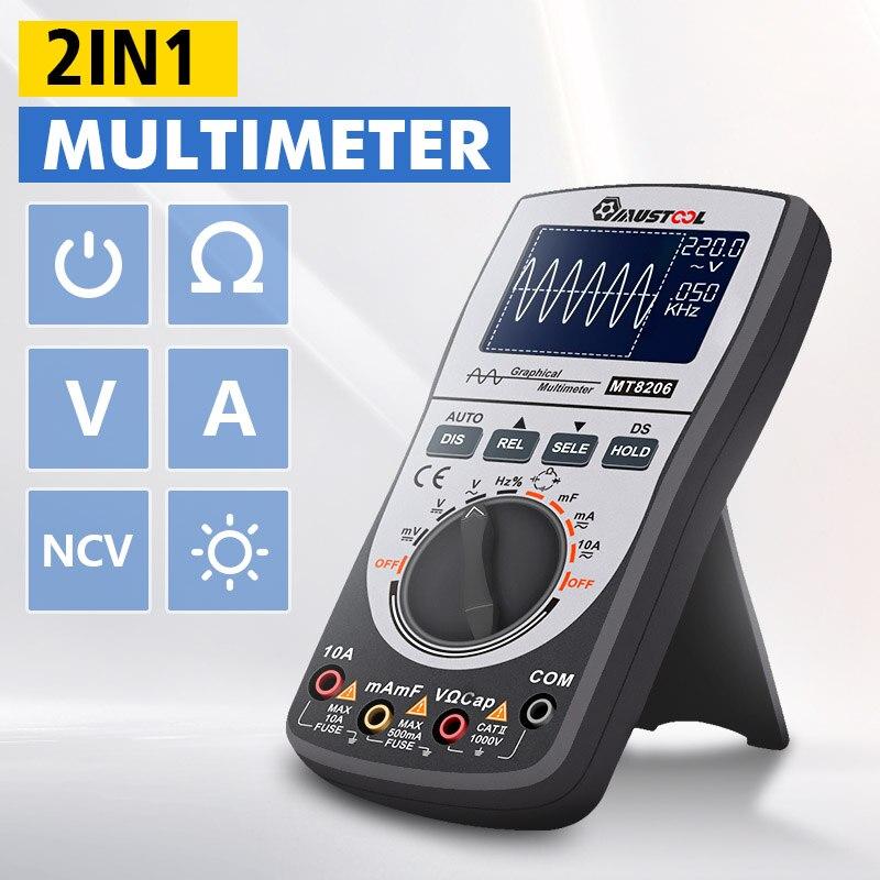 Multimètre Intelligent d'oscilloscope numérique 2 en 1 mis à niveau mutabouret MT8206 avec graphique à barres analogique 200k échantillonnage A/D haute vitesse