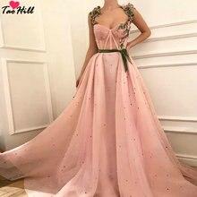 TaoHill Vestido Longo De Festa трапециевидные Цветочные ремешки с бархатным поясом Милое сексуальное платье с вырезом розовые вечерние платья