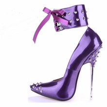 16cm Crystal Metal High Heels Pointed Toe Weeding Party Women Pumps Shoes Luxury Lace-up Best Quality Ankle Sexy Black/Red