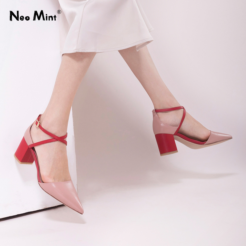 2019 Spring Summer Ankle Strap Heels Sandals Women Pointed Toe Leather High Heel Shoes Woman Luxury Brand Designer Sandals Women