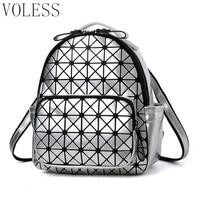 Women Backpack Feminine Geometric Plaid Sequin Female Backpacks For Teenage Girls Bagpack Travel Bags Holographic Mini