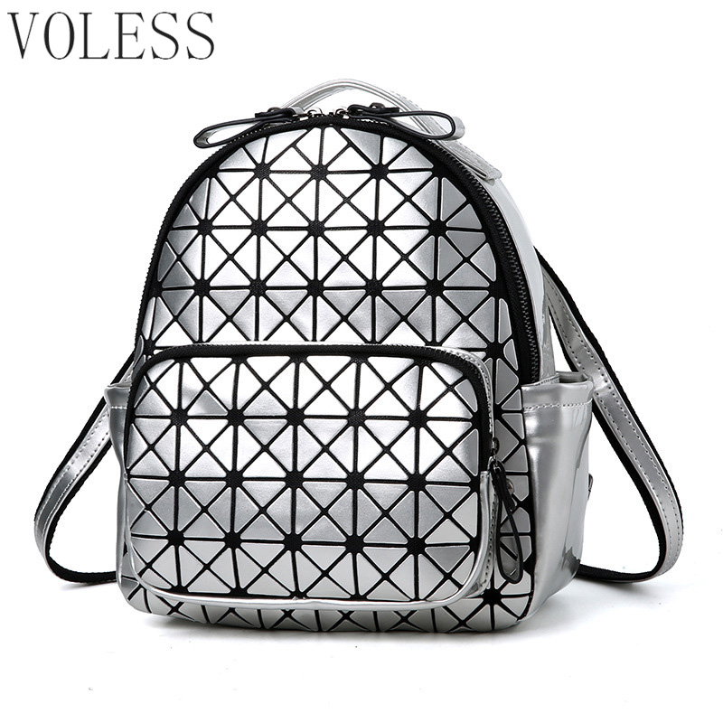 Women Backpack Geometric Plaid Sequin Female Scool Backpacks For Teenage Girls PU Leather Bagpack Holographic Women Backpack ipinee women backpack feminine geometric plaid denim female backpacks for teenage girls bagpack drawstring bag holographic