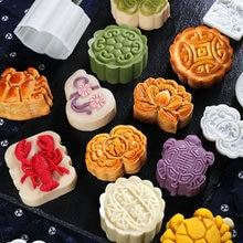 Середина-осень, форма для лунного пряника, набор, Мультяшные кондитерские изделия, ледяная кожа, тиснение, плесень, зеленые бобы, инструменты для торта, прессформа ручного давления+ мотивы