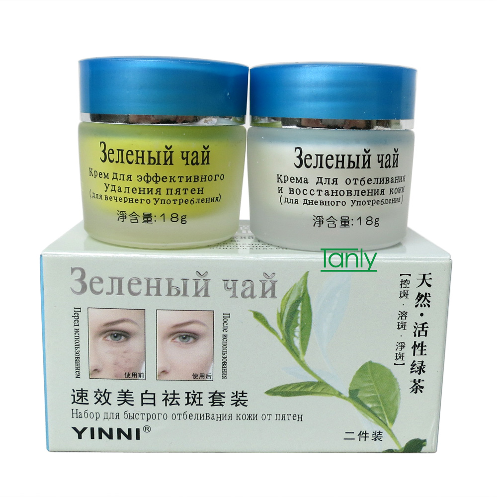 YINNI зеленый чай от веснушек уход за кожей отбеливание крем для лица удалить пигмент 2 в 1