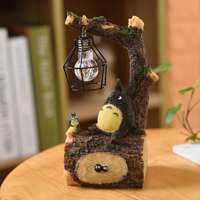Yeni yaratıcı reçine Totoro LED gece ışığı başucu gece lambası çocuklar için doğum günü hediyesi odası dekor