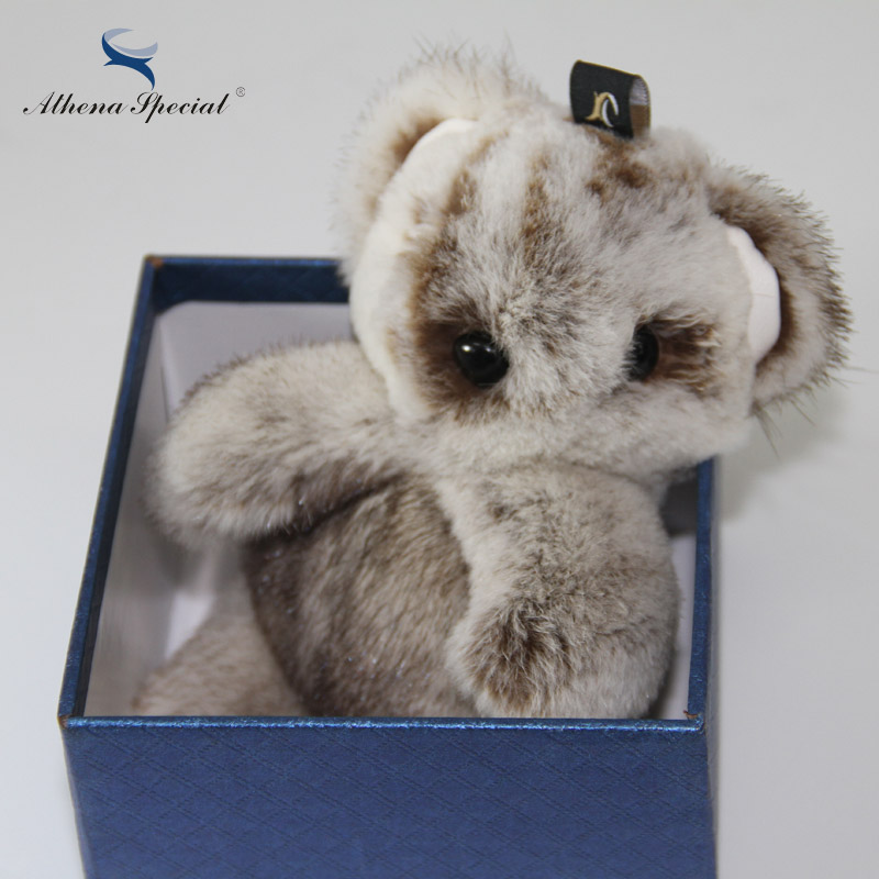 Fashion New Big Mink Fur Lucky Bear Girl's Cell Phone Car Keychain Pendant Handbag Charm Key Chain PomPom Accessories