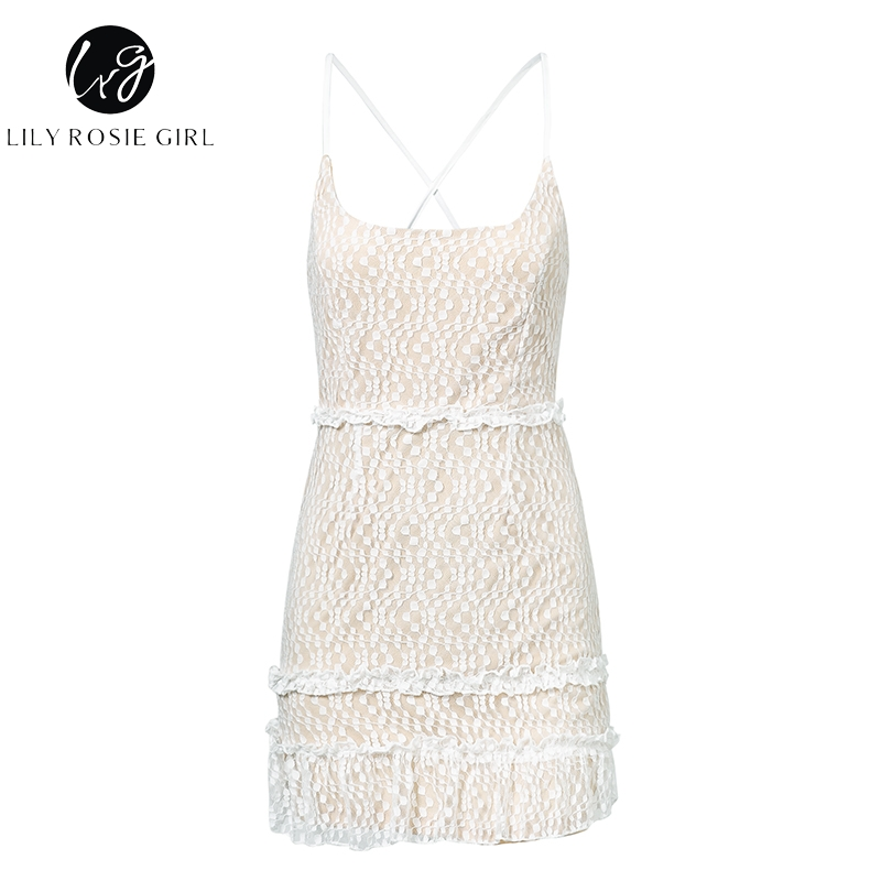 Lily Rosie Girl Spaghetti Strap White Elegant Short Dress Tight Ruffle Lace Up Sexy Dress Boho Beach Women Dress Vestidos by Conmoto