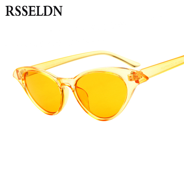 4c1e77015faf RSSELDN Women Small Cat Eye Sunglasses Red Frame Women Brand Designer 2018  Ladies Sun glasses Vintage Sexy Eyewear UV400 Shades