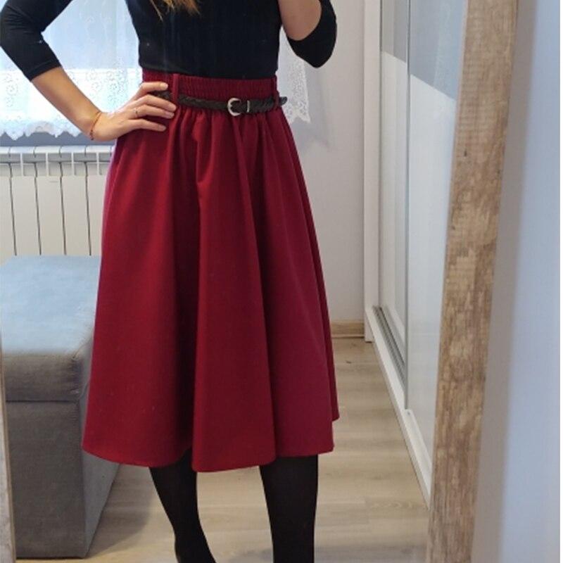 Witsnoep 2019 Summer Midi Skirts Women Korean Fashion Knee Length A-line High Waist Skirt Female With Belt School Skirt Sun