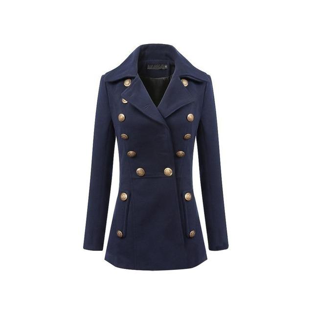 Otoño invierno moda mujeres azul oscuro da vuelta abajo delgado solo pecho elegante ropa Casual de extremo a extremo del negocio ¿ trabajas abrigo de lana
