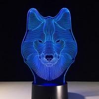 USB Nowości Prezenty 7 Kolory Zmieniające Się Zwierząt Wilk Lampki Nocne Led 3D LED Biurko Lampa Stołowa, Jak W Domu Dekoracje Świąteczne Prezenty Dla Dzieci