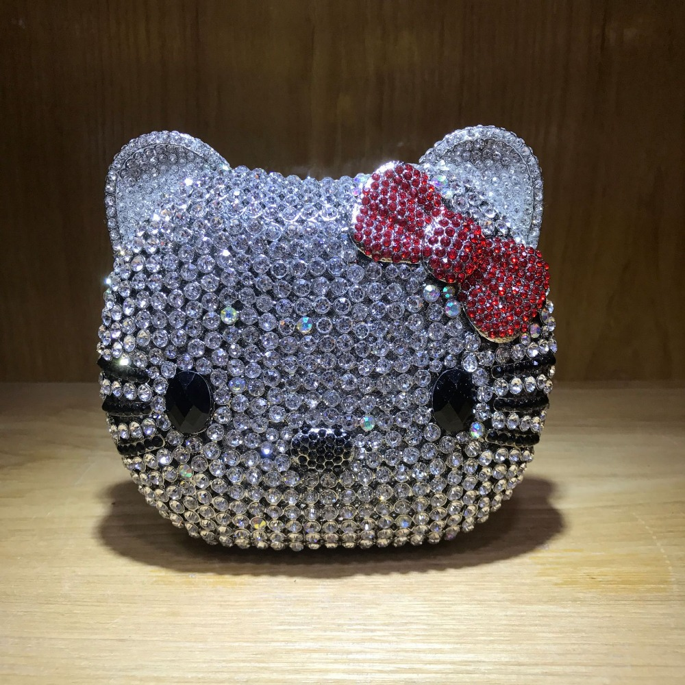 XIYUAN hello kitty Clutch Evening Bag Chain Handbag Women Party Wedding Bride Crystal Diamond banquet Bag Day Clutches purse xiyuan brand evening clutch bag ladies diamond crystal day clutches purses female wedding party bridal handbag with chain