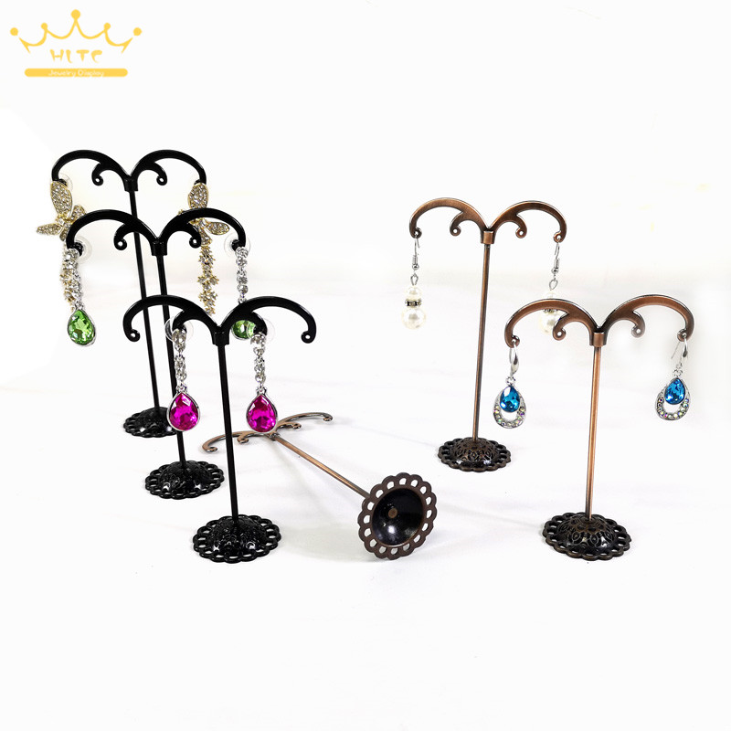 3Pcs/Set Metal Jewelry Organizer Holder Rack Black Antique M-Shape Earring Stud Bracelet Organizer Ornament Hanger Stand Holder
