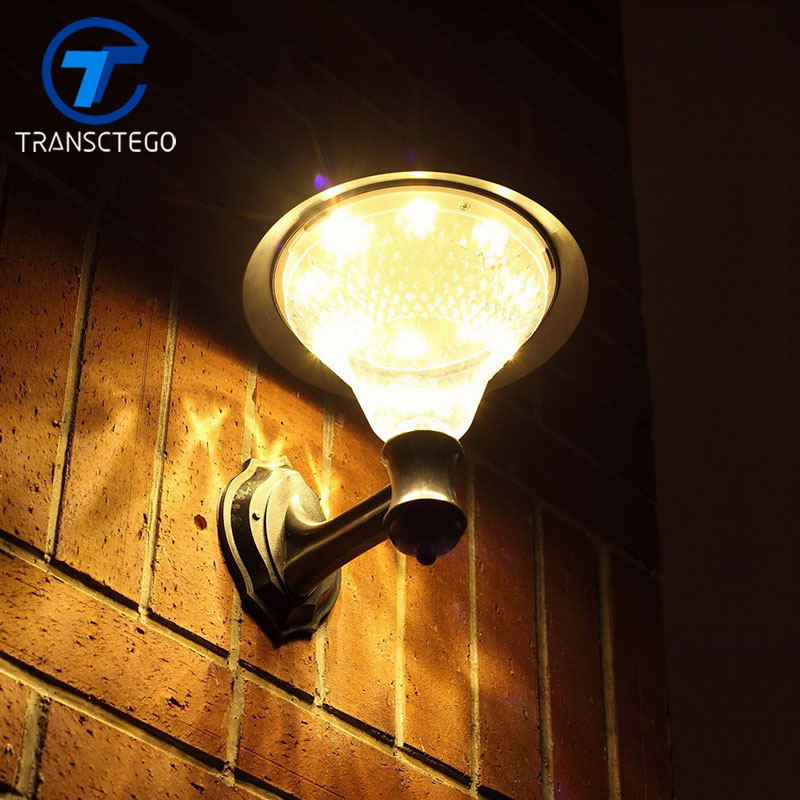 TRANSCTEGO 32 LED Solar Lampe Garden Wall Light Sensor Med Solar Battery Powered Udendørs Vandtæt Street Courtyard Lighting