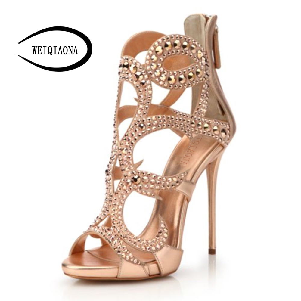 WEIQIAONA B Size 34-46 European 2018 women's New fashion Crystal high heel sandals Gold Sexy peep toe zipper Party shoes weiqiaona new big size 33 43 fashion women shoes sexy lace ladies sandals mesh stiletto peep toe hollow high heel shoes woman