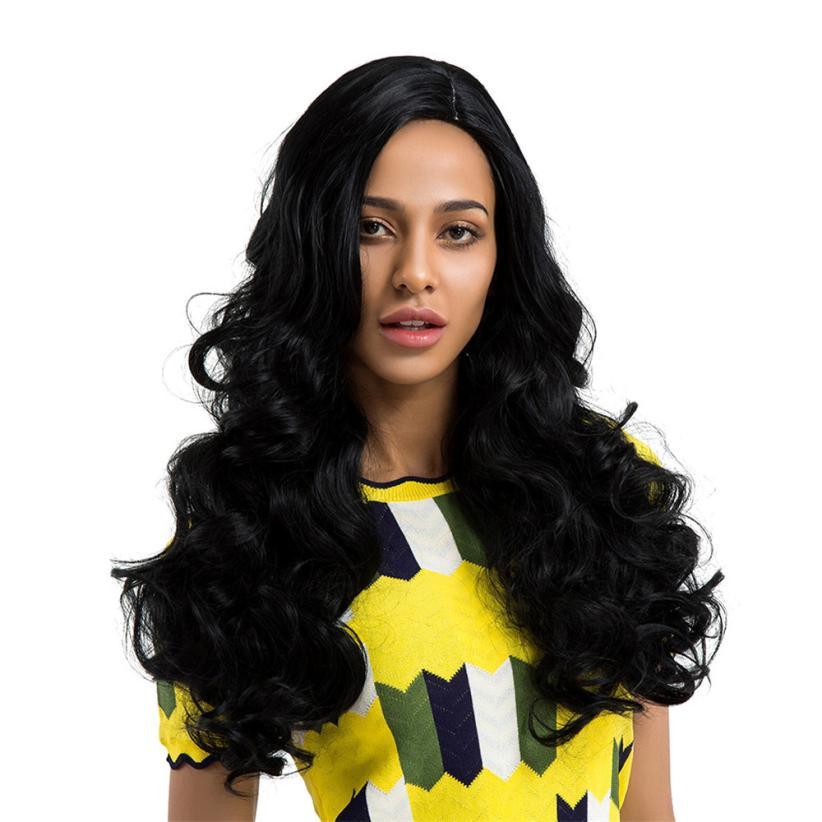 Fashion Ladies Long Black Natural Curls Hair Wigs Full Wig 0702