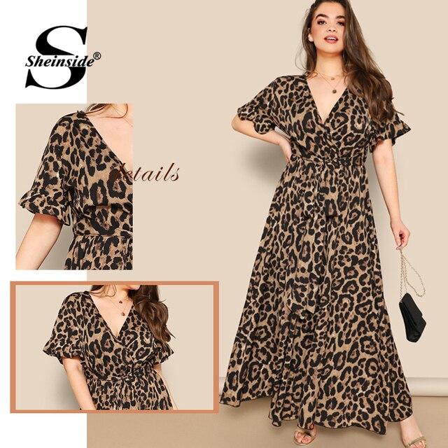 Sheinside Plus Size V Neck Wrap Party Dress Women 2019 Summer Flounce Sleeve Maxi Dresses Ladies High Waist Belted A Line Dress 5