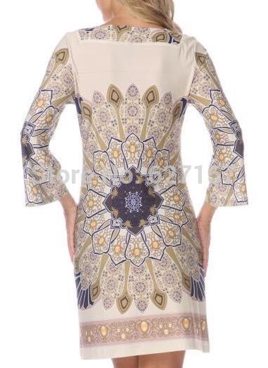 Printemps Droite Designer Impression Taille 2015 La Femmes 4 Jersey De Plus Robe Bohème Manches 3 Soie Xxl Piste TcF5lK13uJ