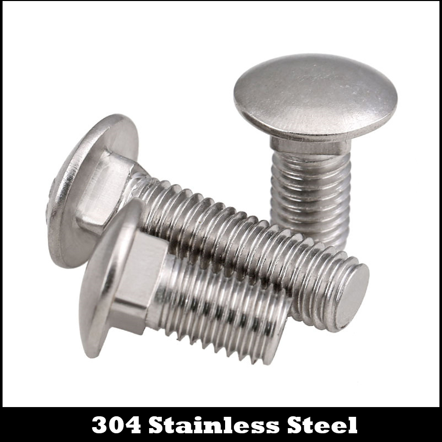 M8 x 70mm A2 Stainless Steel Carriage Bolt Coach Bolt,Right Hand Threads,Metric,8-Pieces