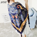 Top quality Bohemian Geometric National Wind Scarf Women's Sunscreen Square Shawl Printing Fringed Scarves 3 Colors