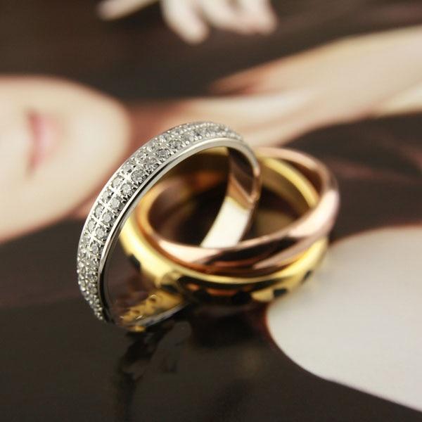 Haute qualité En Acier Titanique D'amour Anneaux pour Femmes Hommes trois mix couleur Léopard plein pierres de mariage anneau Pulseira feminina bijoux