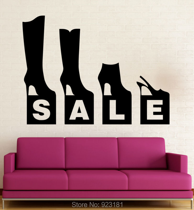 Fashion Shoe Store Sale GO Shopping Wall Art Sticker Decals Home DIY  Decoration Wall Mural Removable