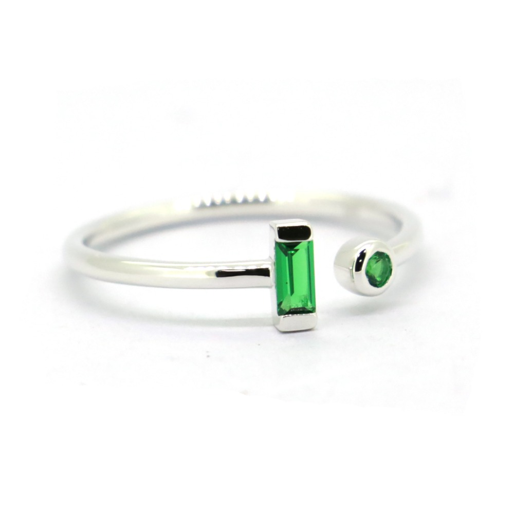 Women Fashion Jewelry CZ Green Genuine 925 Sterling Silver Ring,Midi Rings image