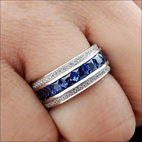 Deluxe Jewelry Mens 7*7mm Blue Princess cut 5a Zircon Stone rings 10KT White Gold Filled Band Engagement Weddiing Rings for Men