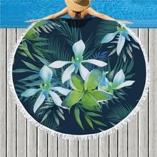 Tropical Green Plant Leaf Print Large Round Beach Towel Microfiber Bath Towel for Living Room Home Decor Boho Style Bath Towel все цены