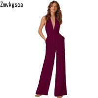 Zmvkgsoa Rompers Womens Jumpsuit Wide Leg Girls Hanging Neck Macacao Feminino Overalls New Combinaison Femme Jumpsuits