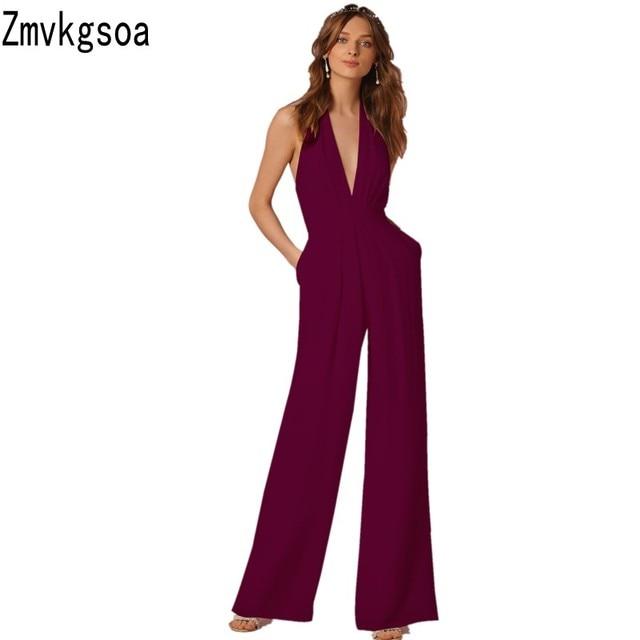 Zmvkgsoa Rompers Womens Jumpsuit Wide Leg Girls Hanging Neck Macacao  Feminino Overalls New Combinaison Femme Jumpsuits For Women 680653cfaf50