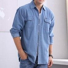 Marškinėliai Vyriški medvilniniai plovai Demin marškiniai Ilgi rankoviai Tušti tinkami Džersiniai marškiniai vyrams Kaubovų tees Tops Klasikiniai atsitiktiniai marškiniai vyrams