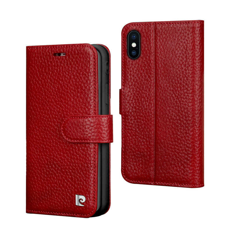Pierre Cardin Genuine Leather For Apple iPhone XR XS Phone Wallet Flip Stand Card Case Cover Phone Case Free Shipping