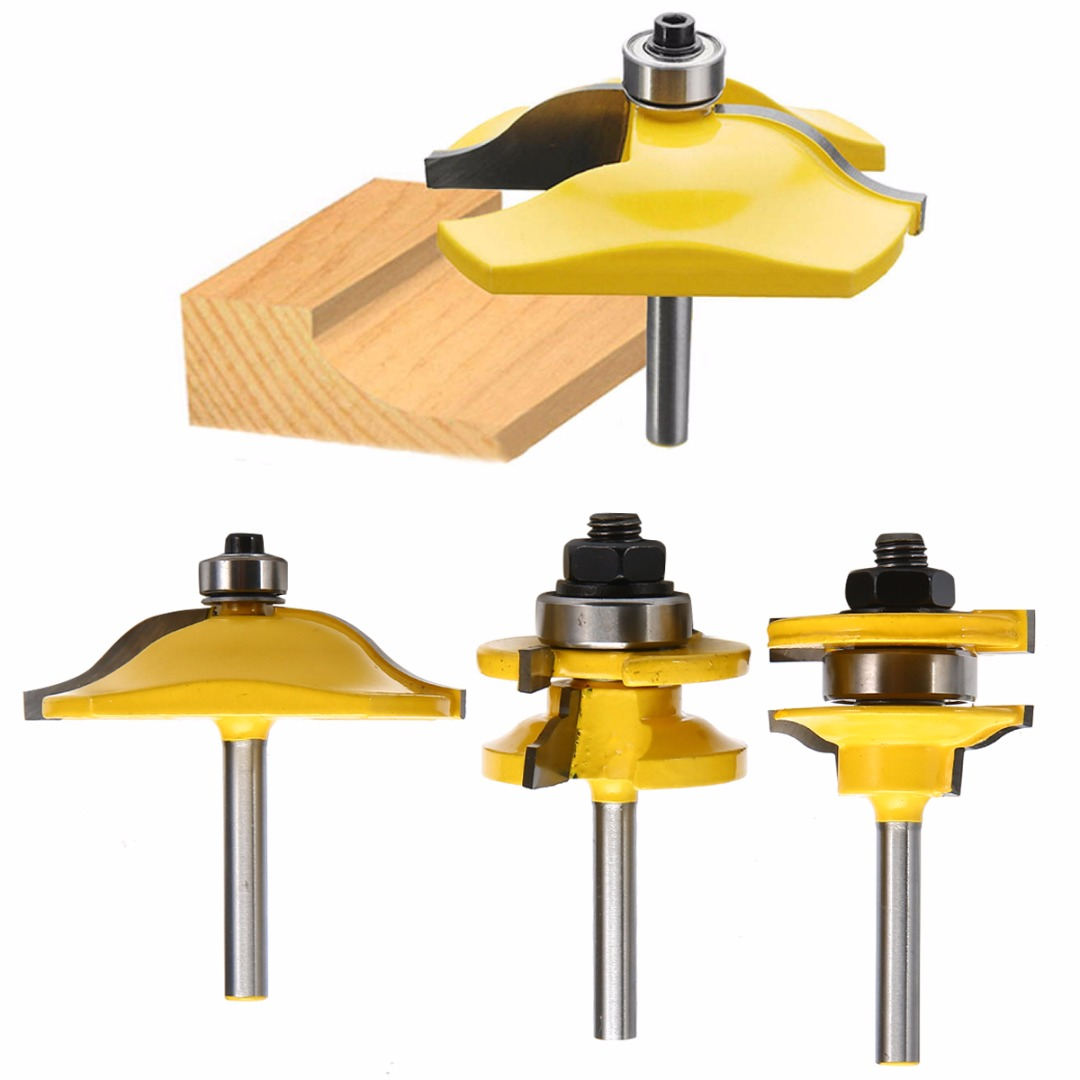 Mayitr 3pcs 1/4'' Shank Ogee Rail & Stile Raised Blade Cutter Panel Cabinet Router Bits Set Milling Cutter For Wood Cutting high grade carbide alloy 1 2 shank 2 1 4 dia bottom cleaning router bit woodworking milling cutter for mdf wood 55mm mayitr