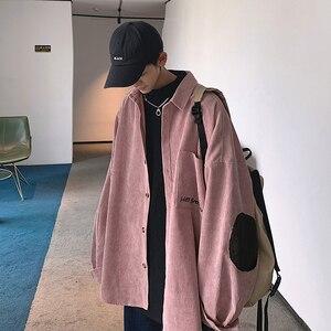 Image 2 - Camisa bordada de pana de manga larga informal para estudiantes, Color liso, holgada, versión coreana, para otoño, 2019