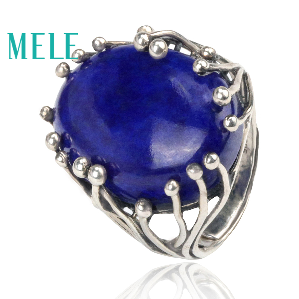 Natural lapis lazuli rings for women and man 15X20mm deep blue big oval cut 925 sterling