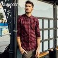 SIMWOOD Hombres Calientes de Moda A Cuadros de Color Rojo Collar de Rotación de Camisa Masculina de Estilo Británico de Un Solo pecho de Adelgazamiento CS1548