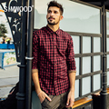 SIMWOOD Men Hot Fashion Red Plaid Turnover Collar Single-breasted Slimming British Style Male Shirt CS1548