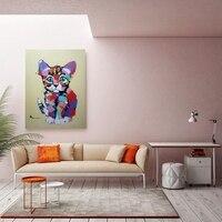 Cute Cat 100% Hand Painted Canvas Oil Painting for Nursery Room Hallway Bedroom Bathroom Wall Decor Animal Artwork Home Decor