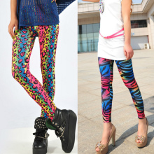 2019 new design leopard zebra Print multicolor leggings women's skinny pants fluorescent rainbow gradually color slim legging