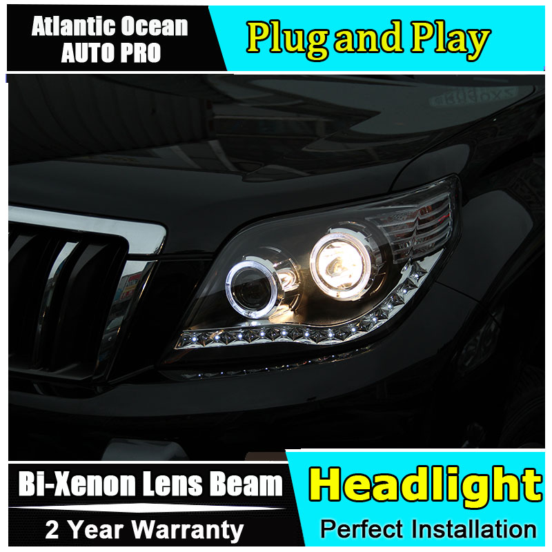 For Toyota PRADO Headlights Prado F150 LED Headlight angel eye led drl HID KIT kit low beam Bi-Xenon Lens hireno headlamp for 2003 2009 toyota land cruiser prado headlight assembly led drl angel lens double beam hid xenon 2pcs