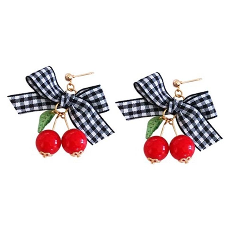 orecchini di moda donna orecchini di ciliegie alla moda troppo dolce orecchini di bowknot orecchini di ciliegie per le donne 2018 fine jewelry