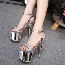 FeiYiTu Women Super High Heel 14/18CM Shoes Silver Stiletto Cross Straps womens Sandals Nightclub Sexy big size 34-42 43