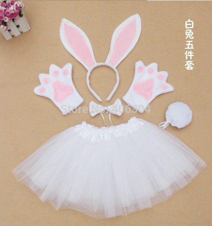 Free shipping ,children halloween performance party  white pink bunny ear headband gloves tutu  bow tie tail costume set for kid