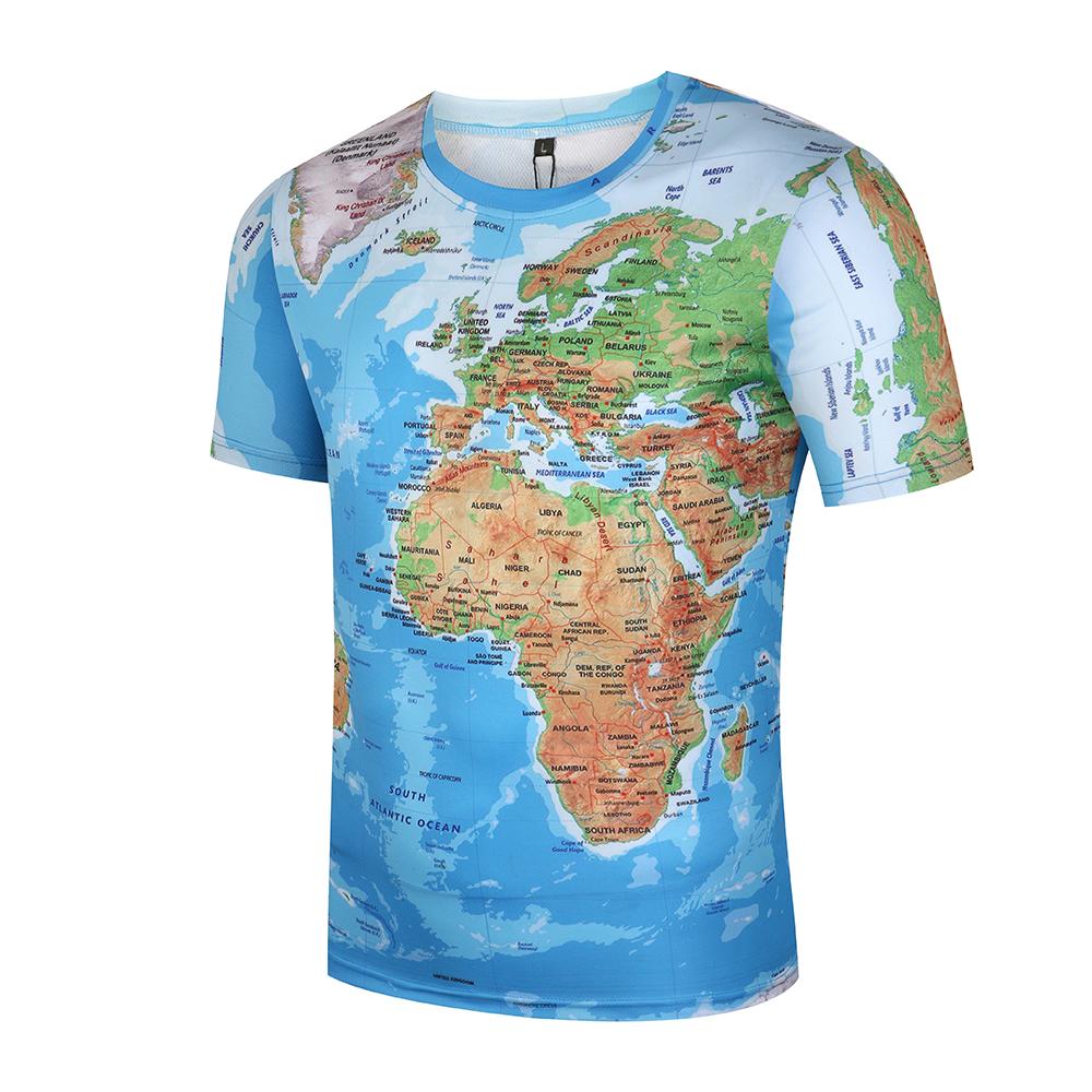 2017 Tシャツ男性世界地図 3D 最終割引 4