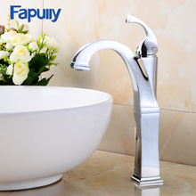 цены Fapully cheap basin faucet tall single handle chrome bathroom sink faucet