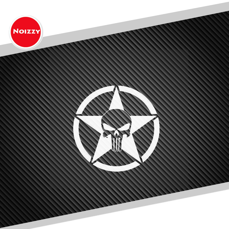 Noizzy Buthless Avenger Skull Willys Star Car The Punisher Sticker Vinyl Door Window Auto Decal Reflective Tuning Car Styling day of the dead girl skull head vinyl wall decal sticker